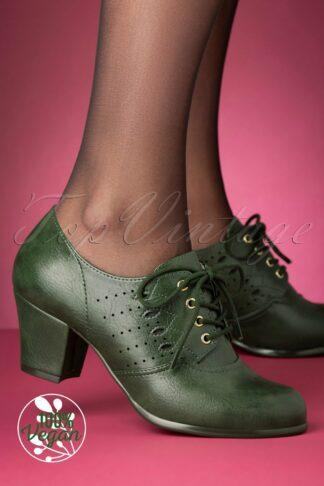 40s Rosie Oxford Shoe Bootie in Green