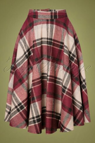 40s Sophie Wool Check Skirt in Cherry Red