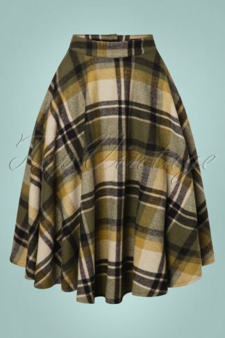 40s Sophie Wool Check Skirt in Khaki