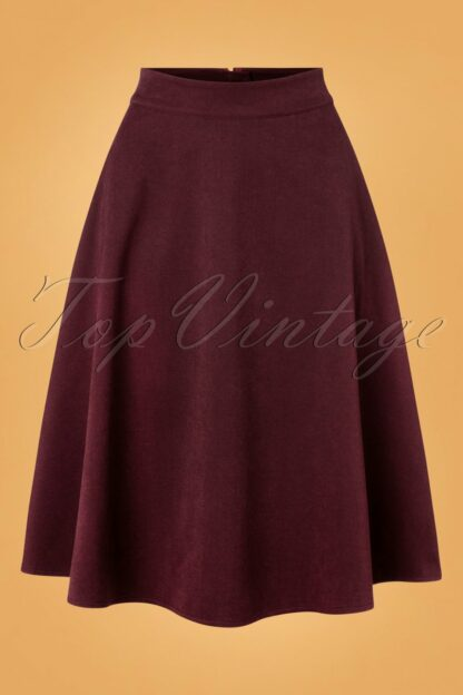 40s Sophisticated Lady Swing Skirt in Aubergine