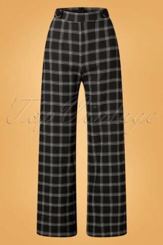 40s Viola Wide Check Trousers in Black and White