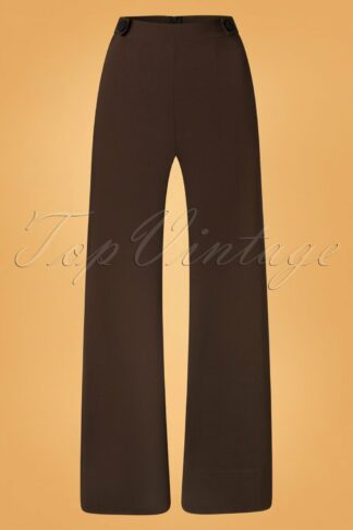40s Viola Wide Trousers in Chocolate Brown