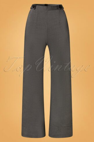 40s Viola Wide Trousers in Grey