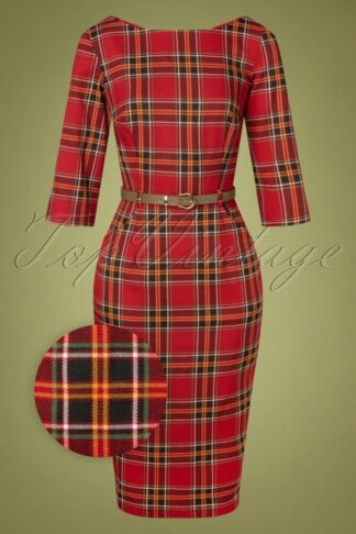 50s Adeline Berry Check Pencil Dress in Red
