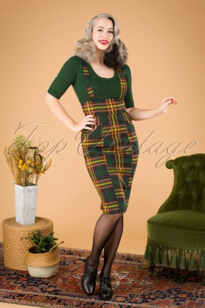 50s Alexa Valley Check Pencil Skirt in Multi