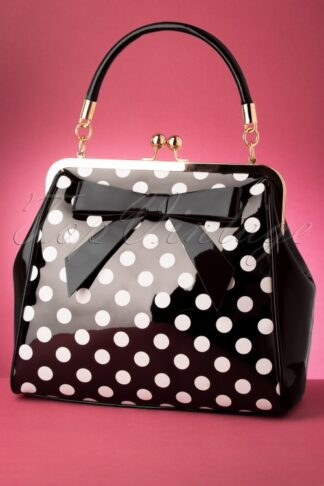 50s American Polka Patent Bag in Black