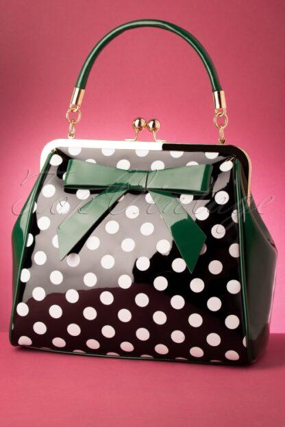 50s American Polka Patent Bag in Green