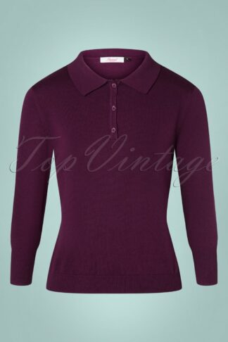 50s Audry Knit Top in Aubergine