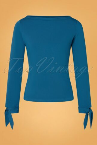 50s Babette Bow Top in Petrol Blue