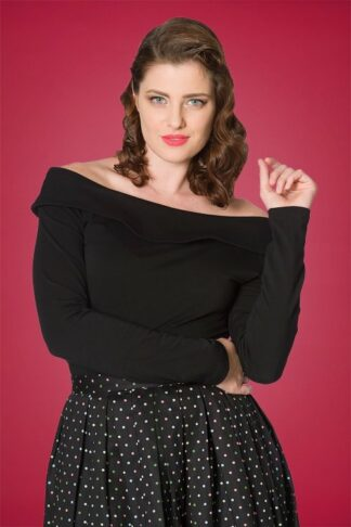 50s Bardot Love Top in Black