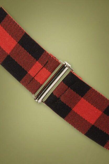 50s Billie Check Cinch Stretch Belt in Red