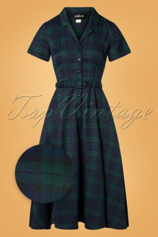 50s Caterina Blackwatch Check Swing Dress in Blue and Green