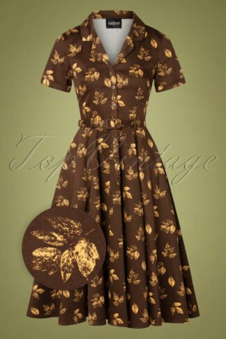 50s Caterina Fall Leaves Swing Dress in Brown