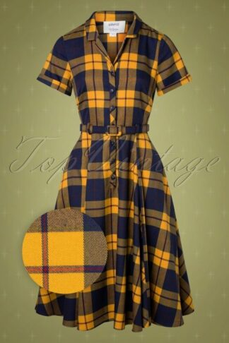 50s Caterina Library Check Swing Dress in Mustard