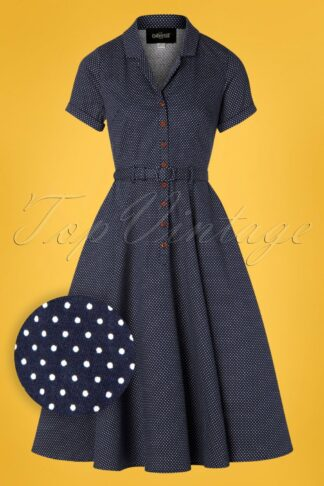 50s Caterina Mini Polka Dot Swing Dress in Navy