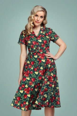 50s Caterina Pomegranate Swing Dress in Teal Green