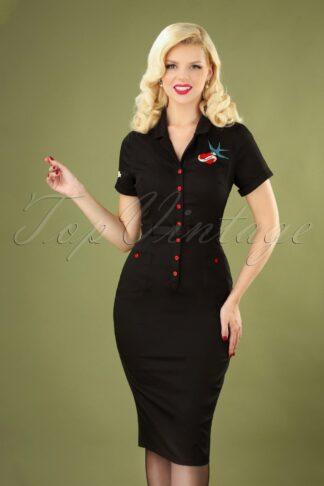 50s Caterina True Love Pencil Dress in Black