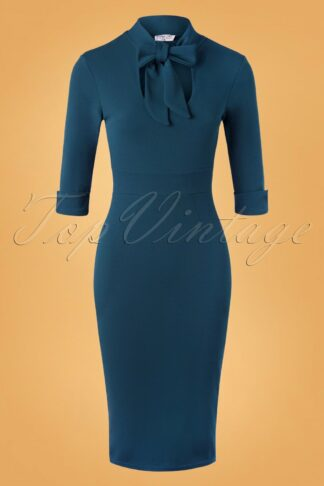 50s Cecelia Pencil Dress in Petrol Blue