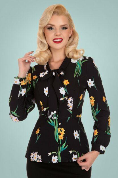 50s Celeste Floral Blouse in Black