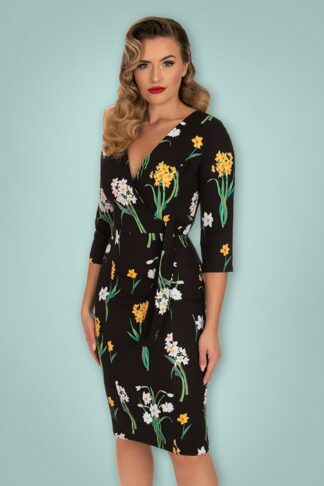 50s Celeste Floral Wiggle Dress in Black