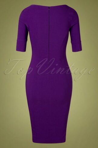 50s Charline Belt Pencil Dress in Purple