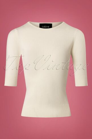 50s Chrissie Knitted Top in Ivory