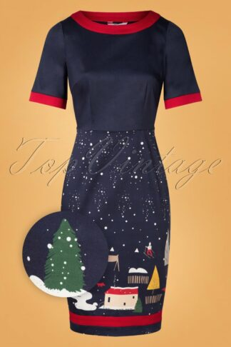 50s Christmas Town Pencil Dress in Navy
