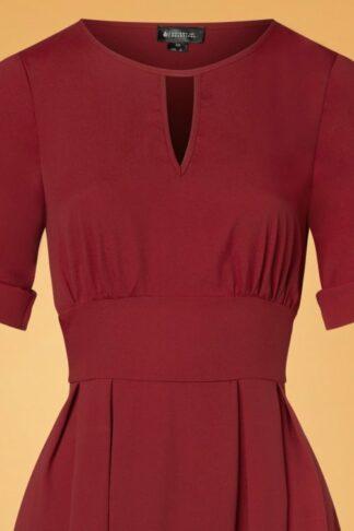 50s Clementine Plain Swing Dress in Dark Red