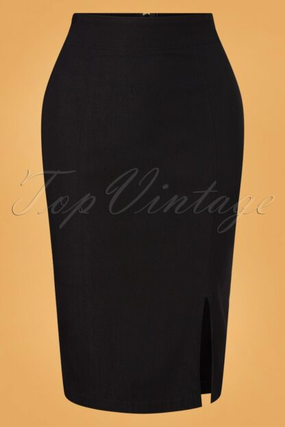 50s Cora Pencil Skirt in Black