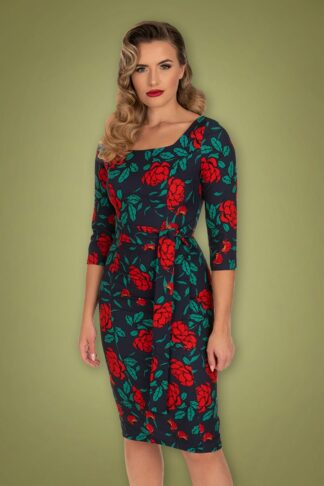 50s Dahlia Red Roses Pencil Dress in Navy