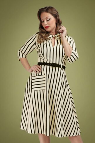 50s Darcy Ghost Stripes Swing Dress in Cream and Black