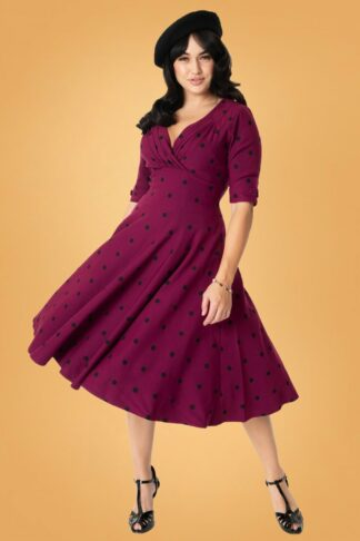 50s Delores Dot Swing Dress in Purple and Black