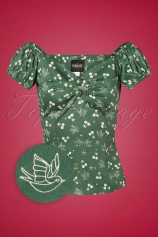 50s Dolores Cherries and Swallows Top in Green