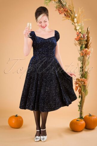 50s Dolores Glitter Drops Doll Dress in Navy