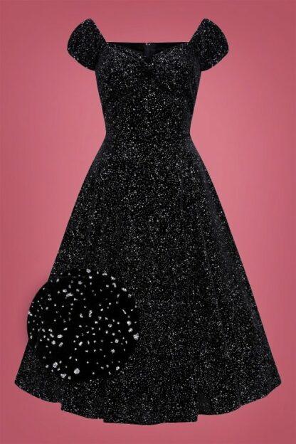50s Dolores Glitter Drops Velvet Doll Dress in Black