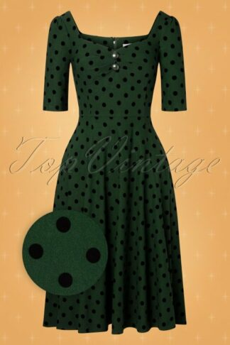 50s Dolores Polkadot Doll Dress in Green