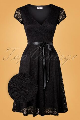 50s Dorien Lace Swing Dress in Black