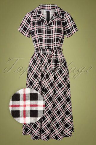 50s Dorothy Check Dress in Black
