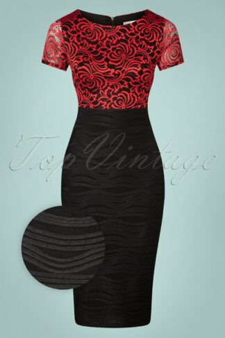 50s Du Bois Pencil Dress in Black and Red