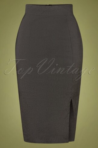 50s Eleonora Pencil Skirt in Grey