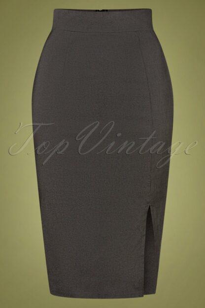 50s Eleonora Pencil Skirt in Grey