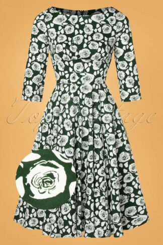 50s Emelda White Roses Swing Dress in Green