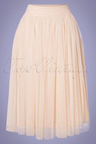 50s Emma Midi Tulle Skirt in Nude