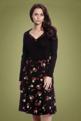 50s Eva's Garden Swing Skirt in Black