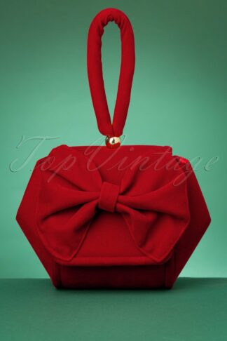 50s Felicity Bow Clutch Bag in Red