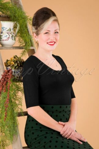50s Freya Knitted Top in Black