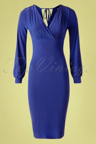 50s Genesis Bodycon Dress in Royal Blue