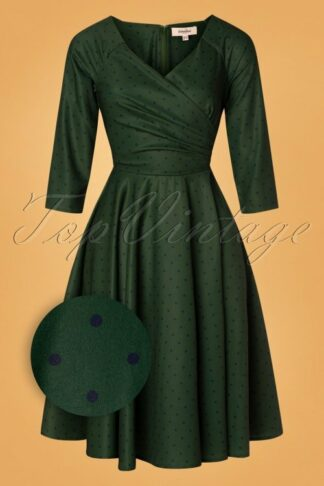 50s Genevieve Polkadot Swing Dress in Green