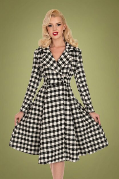 50s Heather Swing Coat in Black and Ivory