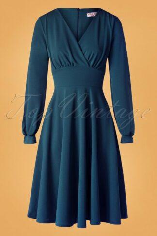 50s Helaine Swing Dress in Teal Blue